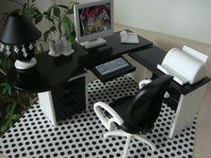 Doll House Office Furniture - Desk Lamp Chair Accessories - Monster High - Ooak