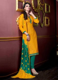 http://www.sareesaga.in/index.php?route=product/product&product_id=18103 Work	:	Embroidered Lace	Style	:	Churidar Suit Shipping Time	:	10 to 12 Days	Occasion	:	Party Festival Casual Fabric	:	Jacquard	Colour	:	Yellow For Inquiry Or Any Query Related To Product,  Contact :- +91 9825192886