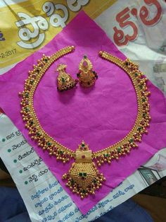 New Necklace Designs, Gold Earrings Designs, Gold Necklace Simple, Gold Jewelry Simple, Indian Jewelry Earrings, India Jewelry, Jewelry Necklaces, Gold Chain Design, Gold Jewellery Design
