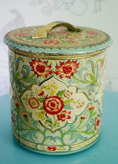 1960s Dutch Embossed Floral Lidded Tin Container by GadzinasHamper, $19.00