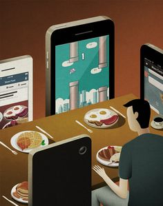Editorial for dinner with cell phone Art & Illustration