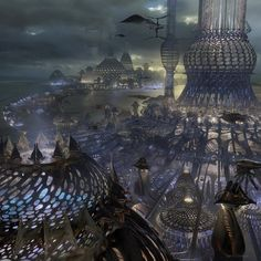 Science Fiction Film World New Ideas Fantasy City, Fantasy Places, Fantasy Kunst, Fantasy World, Futuristic City, Futuristic Architecture, City Landscape, Fantasy Landscape, Science Fiction Kunst