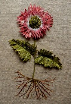Poppy 3D botanical embroidered textile artwork by Corinne Young - www.corinneyoungtextiles.co.uk