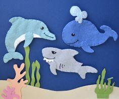 Chompy the Shark - One Handmade Wool Blend Felt Finger Puppet