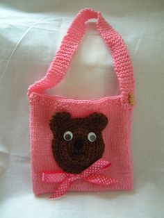 Knitted Purse Bag Pink with Crocheted Teddy Bear For by babyflossy.
