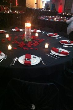 Red black and white wedding reception. Except for the place settings, this is what Kims sweet 16 looked like. Black Red Wedding, Red And White Weddings, Wedding White, Wedding Reception Decorations, Wedding Centerpieces, Red Wedding Receptions, Reception Table, Wedding Tables, Centrepieces