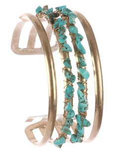 Gold Natural Turquoise Howlite Gemstone Wire Wrapped Open Adjustable Cuff NEW #Unbranded #Cuff