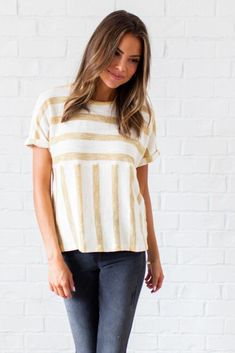 Stripes on Stripes French Terry Top-FINAL SALE