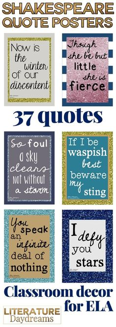 A gorgeous set of 37 Shakespeare quotes - one from each play - perfect to spruce up your ELA classroom this year. Each design is stunning. Just download and print!