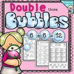 Math Classroom, Kindergarten Math, Teaching Math, Teaching Ideas, Elementary Math, Classroom Ideas, Math Doubles, Doubles Facts, Doubles Worksheet