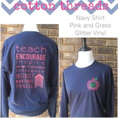 Monogrammed Chevron Apple Teacher Long by CottonThreadsShirtCO