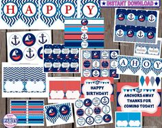 70 OFF Ahoy Birthday Boy Package SALE by EasyPartyPrintables