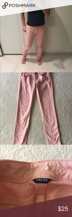 Pink American Eagle jeans Pink American Eagle jeans. Gently used in good condition. Size 0 short. No trades. Please ask all questions before purchasing and use the offer button, thanks! American Eagle Outfitters Jeans Skinny