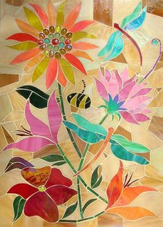 Flowers and dragonflies ~ Lizzie Tucker