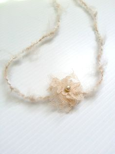 newborn photography prop-baby photo prop-tan beige cream angel tie back halo headband fabric flower beads. baby shower gift, spring headband on Etsy, $5.99