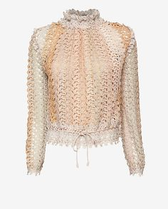 Missoni Lurex Fishnet Top: Nude: There is nothing better than a signature Missoni knit making a chic and shine statement. Self tie gathered drawstring at high neckline and hem. Keyhole back with closure at nape. Long sleeves. Sillk cami included. In nude.     Fabric: 60% rayon/25% rayon ...