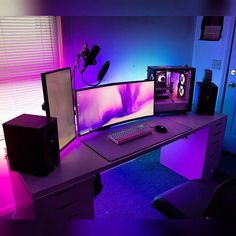 FULL SPECS /LAST PICS ➡️ This is one stunning battlestation 💎 Starting from the beautiful ambience light, passing through that awesome… Best Gaming Setup, Gamer Setup, Gaming Room Setup, Pc Setup, Office Setup, Ultimate Gaming Setup, Office Workspace, Computer Gaming Room, Gaming Computer Desk