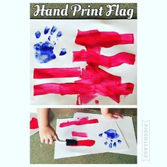 Hand Print Flag {Bree did this all by herself! Super easy and it turned out great!!} #kidapproved #kidactivity #kidsactivities #kid4thofjuly #kidcraft #kidart #toddlerart #toddlercraft #toddlerapproved #toddleractivity #toddleractivities