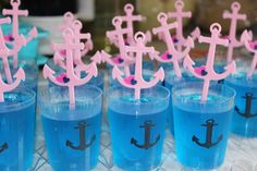 Nautical Girl Baby Shower jello in Nautical Shot Glasses with picks from openaparty.com