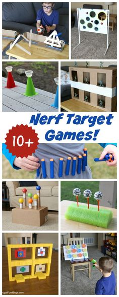 10 of the BEST Nerf Target Games Exploding stick targets army guy shooting gallery Star Wars Nerf games and more. - Nerf Gun - Ideas of Nerf Gun Projects For Kids, Diy For Kids, Kids Crafts, Party Crafts, Simple Games For Kids, Diy Party, Nerf Birthday Party, Birthday Games, Indoor Birthday