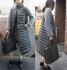 Europe women winter jacket fur spliced sleeve cotton-padded jacket long down coat Luxury women's winter jackets and coats TT182