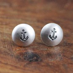 Tiny Silver Anchor Stud Earrings. $24.00, via Etsy.