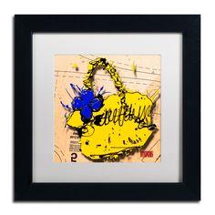 'Flower Purse Blue on Yellow' by Roderick Stevens Framed Graphic Art