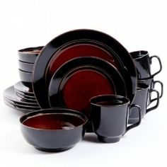 NEW*GIBSON Bella Galleria*16 PIECE Dinnerware Set*SERVICE FOR 4*Black and Red #Gibson
