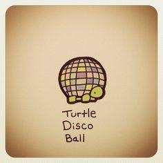 Turtle Disco Ball is neat Cute Turtle Drawings, Animal Drawings, Cute Drawings, Tiny Turtle, Turtle Love, Cute Turtles, Baby Turtles, Kawaii Turtle, Tiny Dinosaur