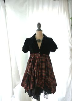 Pretty Punk, Velvet Gypsy vagabond coat, bohemian duster, boho clothes, plaid lace lagenlook Tartan, romantic Victorian, true rebel clothing by TrueRebelClothing on Etsy