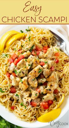 This Chicken Scampi Recipe is an easy dinner idea that is full of flavor! Made with angel hair pasta in a garlic butter sauce with white wine and fresh lemon! You can make it without wine and use chicken broth instead! Easy Chicken Scampi Recipe, Chicken Pasta Recipes, Garlic Butter Sauce, Angel Hair, Family Meals, Entrees, Meal Prep, Meat, Dinner