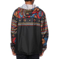 Add a fun new protective layer to your outfits with the Transparent Anorak jacket from Empyre. This classic look features a water-resistant quarter zip up closure on a black colorway accented by a multicolor tribal print upper and sleeves plus a water-res