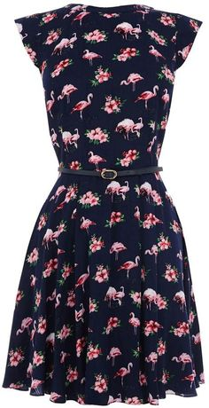 Pin for Later: Flamingos Are Having a Moment in Our Closets Oasis Flamingo-Print Dress Oasis Flamingo viscose skater dress ($76)