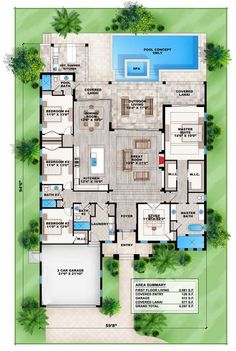 Florida Living with Wonderful Outdoor Space - 86028BW | 1st Floor Master Suite, CAD Available, Den-Office-Library-Study, Florida, Luxury, PDF, Southern, Split Bedrooms | Architectural Designs