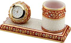 Marble Pen Stand with Watch www.handicraftinternational.com
