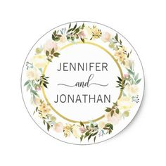 Watercolor Floral Wreath White Gold Wedding Seals - wedding stickers unique design cool sticker gift idea marriage party
