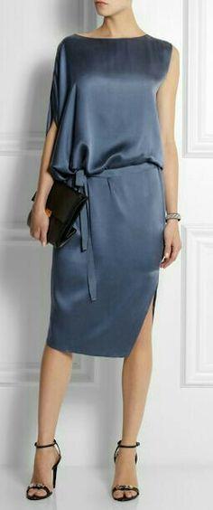 DAY Birger et Mikkelsen - Draped asymmetric silk-satin dress Silk Satin Dress, Satin Dresses, Blue Dresses, Summer Dresses, Gray Dress, Women's Dresses, Modest Fashion, Fashion Dresses, Couture Dresses