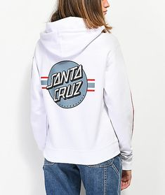 Achieve a classic, skate inspired style in the Banner Dot White Hoodie from Santa Cruz. This white hoodie features the Santa Cruz Dot logo screen printed at the left chest and back, while bold, red and blue stripes with Santa Cruz logo text is added to bo Grunge Style, Soft Grunge, Tokyo Street Fashion, Cute Comfy Outfits, Cool Outfits, Winter Outfits, Grunge Outfits, Tomboy Outfits, Casual Outfits
