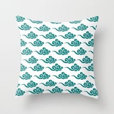 Teal Clouds Pattern Throw Pillow by dimkdesigns Teal Throw Pillows, Decorative Throw Pillows, Clouds Pattern, Room Decor, Decoration, Decor, Accent Pillows, Home Decor, Decorating