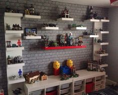 Ideas Kids Room Ideas For Boys Bedrooms Lego Table For 2019 Lego Shelves, Glass Shelves, Lego Display Shelf, Kids Room Shelves, Book Shelves, Wall Shelves, Deco Lego, Kids Room Paint, Lego Table