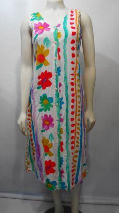 Jams World S Flower Trail Sleeveless Hawaiian Rayon Sundress Dress Made in USA Hawaiian Summer Dresses, Hawaiian Sundress, Grunge Dress, Cherry Dress, Cute Clothes For Women, Aloha Hawaii, Dress Making, Pink Ladies, Trail