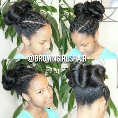 I can show you how to do this hairstyle in minutes...click link http://www.browngirlsstyle.com/dutch-braids-semi-cinnabun-hairstyle/#browngirlshair #naturalhair #teamnatural