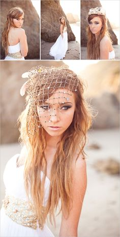 I love everything about this, from the frothy dress to the bejeweled sea net accents
