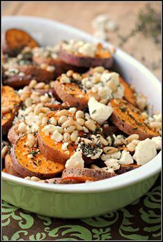 Herbed Sweet Potatoes with Feta. Herbed Sweet Potatoes with Feta and Pine Nuts {vegetarian gluten-free} Side Recipes, Vegetable Recipes, Whole Food Recipes, Vegetarian Recipes, Cooking Recipes, Healthy Recipes, Veggie Meals, Cooking Tips, Feta