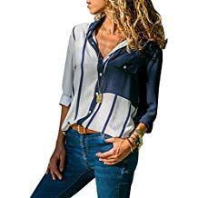 8d33741bde4de3 FIYOTE Oberteile Damen Multicolor Hemden Button-Down Streifen Langarm  Hemdbluse Casual und Schlank Blusen 4