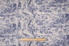 Toile Drapery Prints :: Travers Mythic Voyas Printed Cotton Drapery Fabric in Blue $14.95 per yard - Fabric Guru.com: Fabric, Discount Fabri...
