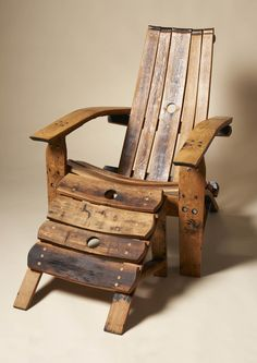 Unusual furniture made from unusual materials - used whiskey barrel. Darach makes them in Scotland. Unusual Furniture, Furniture Making, Wood Patio Furniture, Upcycled Furniture, Old Chairs, Outdoor Chairs, Whiskey Barrel Furniture, Barris, Barrel Projects