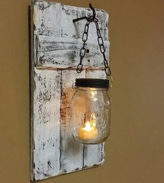 Candle Holder Distressed White Rustic by TeesTransformations