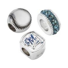LogoArt Milwaukee Brewers Sterling Silver Crystal Bead Set/