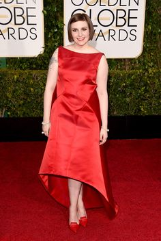 Lena Dunham in Zac Posen at the 2015 Golden Globes.  I know she and Zac Posen are besties but either she looks bad in his clothes or he is not making her the right things.  Fail.